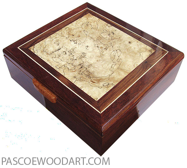 Handcrafted wood box - Large keepsake box made of bloodwood with blackline spalted maple burl center top