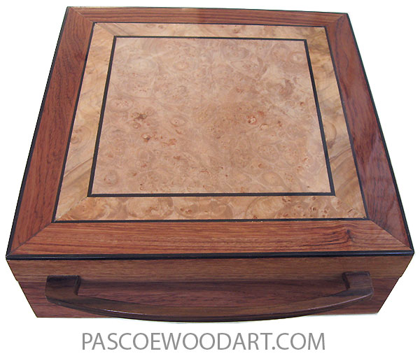 Handcrafted wood box - Decorative wood keepsake box made of bubinga with maple burl top
