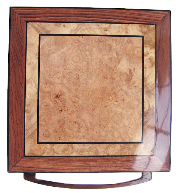 Maple burl center framed in bubinga with African blackwood stringing box top - Handcrafted wood keepsake box