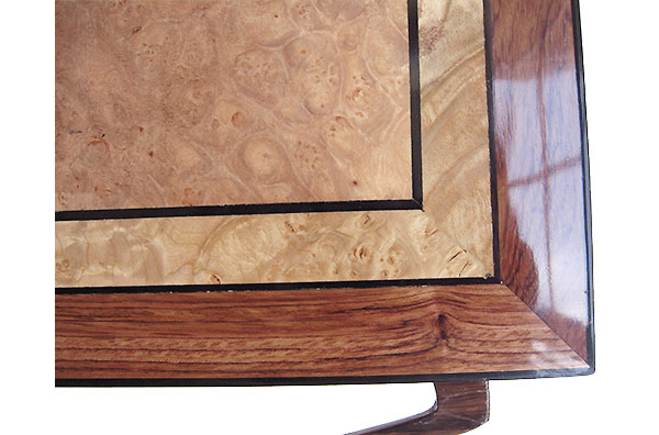 Maple burl center framed in bubinga box top  close up - Handcrafted wood box