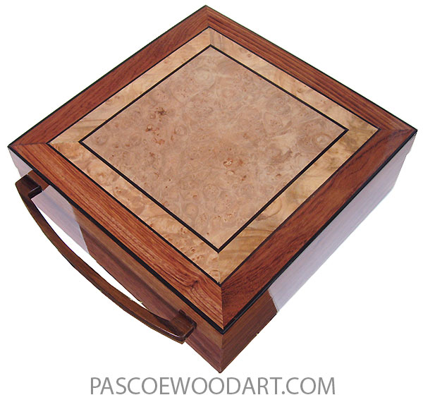 Handcrafted wood box- Large keepsake box made of  bubinga with mosaic top of maple burl, African blackwood