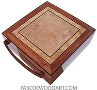 Handcrafted wood box - large keepsake box made of bubinga with maple burl top