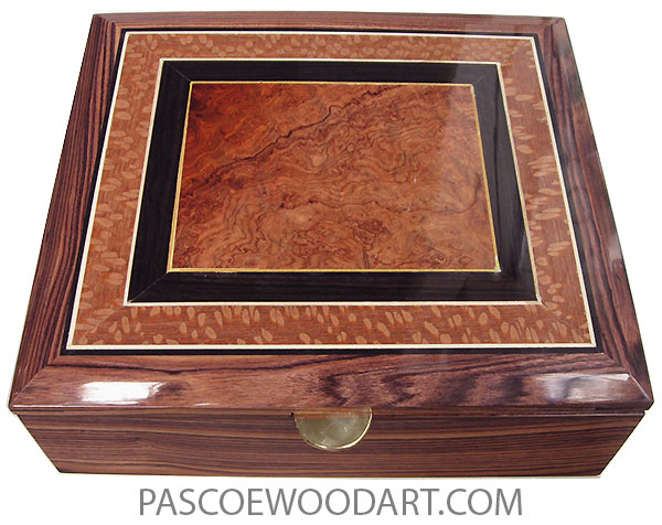 Handcrafted wood box - Large keepsake box made of Honduras rosewood with amboyna burl center framed in African blakwood and lacewood bevel top