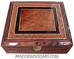 Handcrafted Wood Box - Large keepsake box made of Honduras rosewood with bevel top with amboyna burl center framed in African blackwood and lacewood