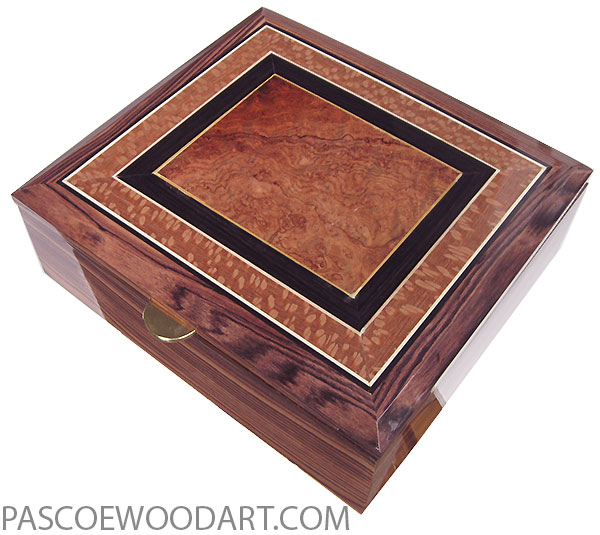 Handcrafted wood box - Large keepsake box made of Honduras rosewood with beveled top with amboyna burl center framed in African rosewood and lacewood