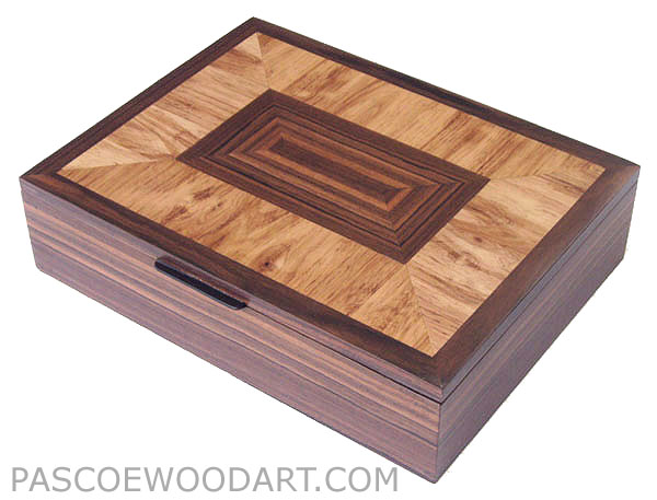 Decorative large keepsake box, letter sized paper box - Handcrafted wood box made of Asian ebony, Honduras rosewood