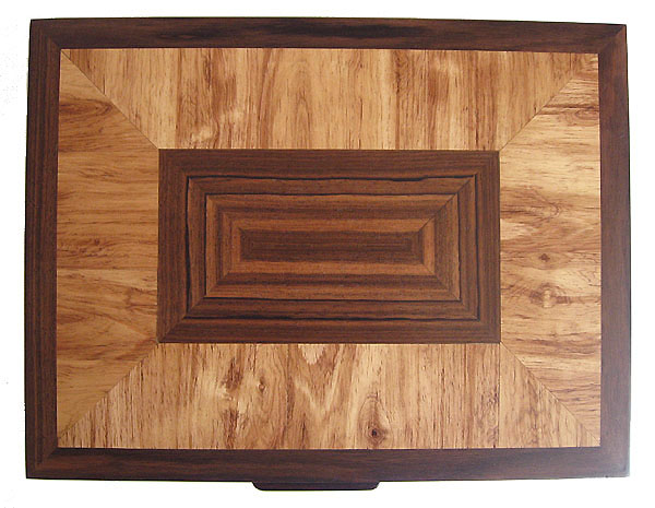 Parquet box top - decorative large keepsake box, letter size paper box - handmade of Asian ebony, Honduras rosewood