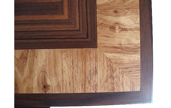Decorative wood parquet box top close up - Asian ebony, Honduras rosewood