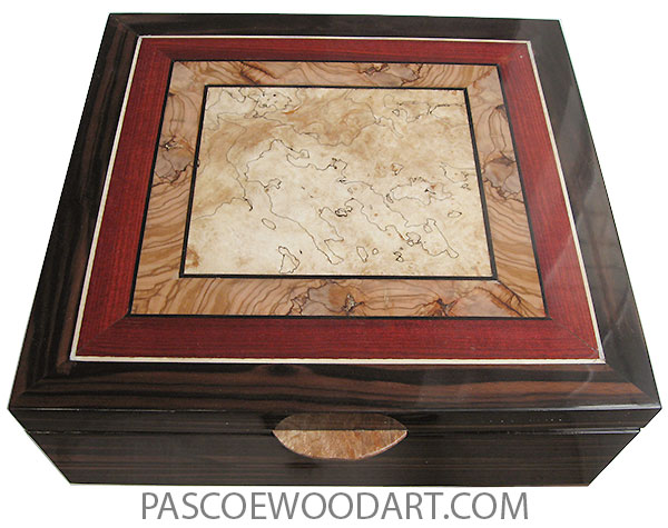 Handcrafted wood box - Large keepsake box made of macassar ebony with mosaic top of spalted maple, olive, blood wood and ebony.