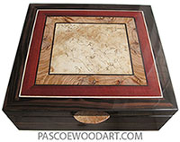 Handcrafted wood box - Large keepsake box made of macassar ebony wth mosaic top of spalted maple, olive, bloodwood, ebony.