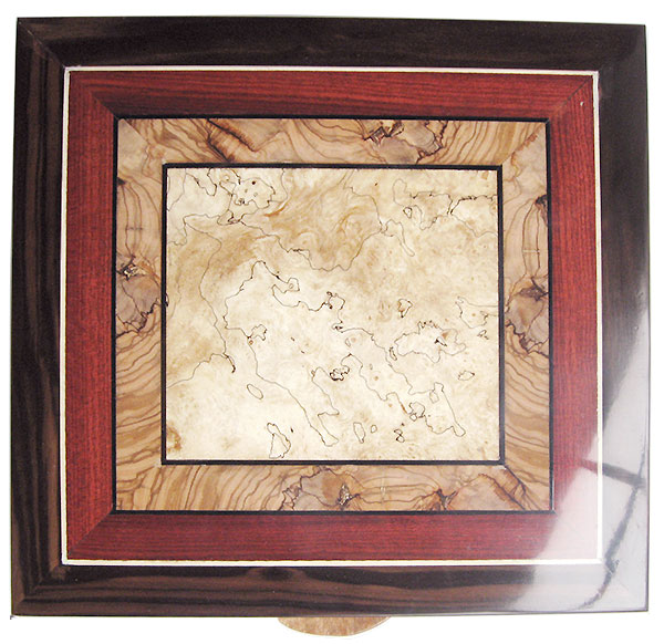 Mosaic box top of spalted maple, olive, bloodwood, ebony - Handmade large wood keepsake box