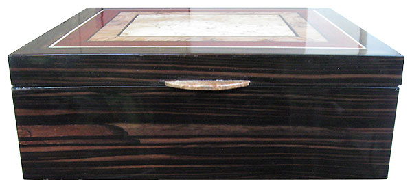 Macassar ebony box front - Handcrafted large wood box