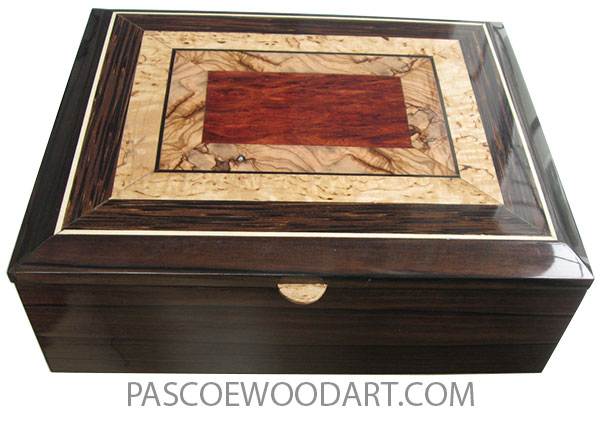 Handcrafted wood box - Keepsake box made of macassar ebony with mosaic top of bloodwood burl, Mediterranean olive and masur birch.