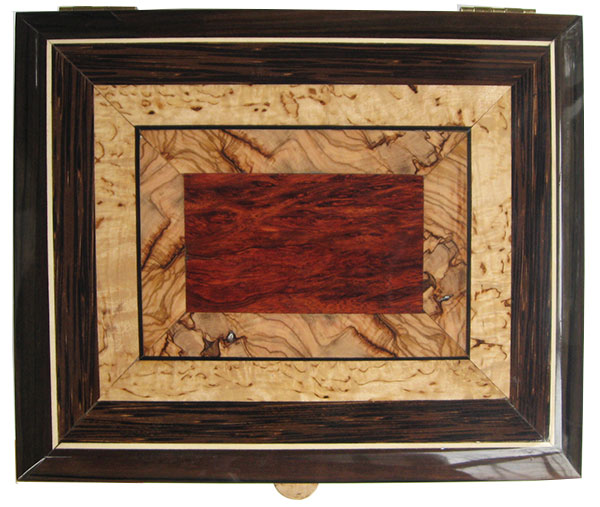 Mosaic top of bloodwood burl, Mediterranean olive and masur birch - Handcrafted wood keepsake box