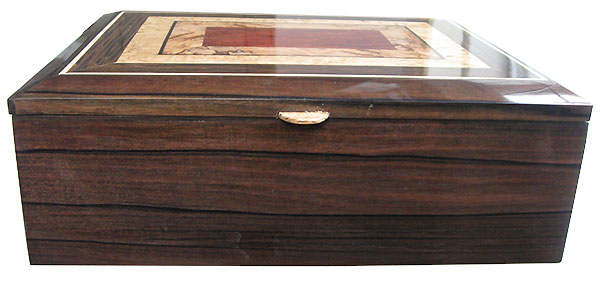 Macassar ebony fox front - Handcrafted wood keepsake box