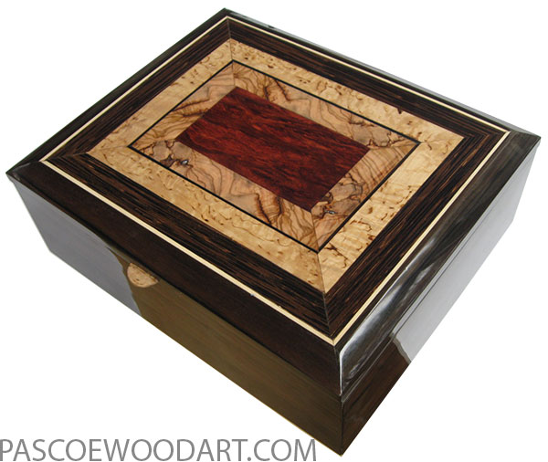 Handcrafted wood box - Keepsake box made of macassar ebony with mosaic top of bloodwood burl, Mediterranean olive, masur birch