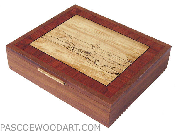 Handcrafted wood box, large keepsake box, letter box - made of Afromosia, bubing, spalted maple