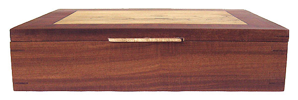 Afromosia wood box front view - handcrafted large keepsake box