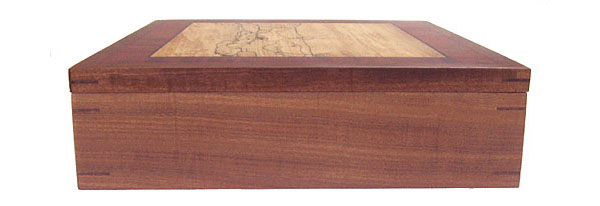 Afromosia wood box side view - handmade large keepsake box
