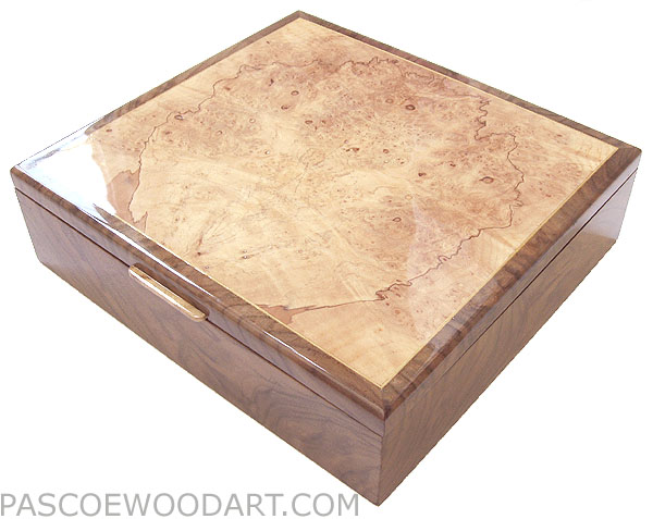 Handcrafted wood box - Decorative wood keepsake box made of crotch walnut, spalted maple burl