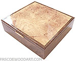 Handcrafted wood box - Decorative keepsake box made of crtch walnut, spalted maple burl