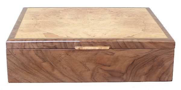 Handcrafted wood box - Crotch walnut box front view