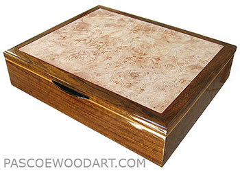 Shedua box - Large keepsake box - Handcrafted wood box made of shedua, maple burl, Ceylon satinwood
