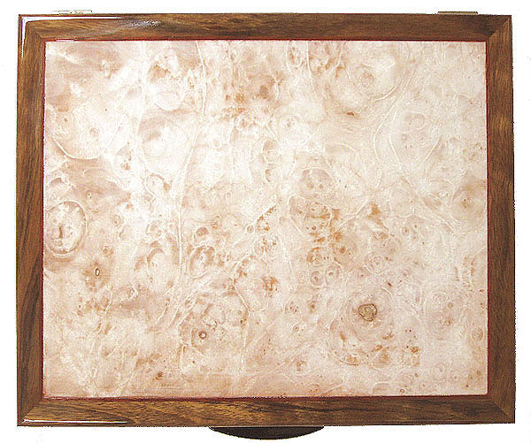 Maple burl box top - Handcrafted wood keepsake box made of shedua, maple burl