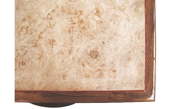 Maple burl wood box top - close up