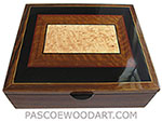 Handcrafted wood box - Large decorative keepsake box made of shedua, ebony, bird's eye maple