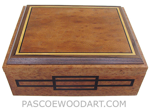 Handcrafted large wood box - Decorative wood large keepsake box or document box made of camphor burl with camphor burl framed in ebony, Ceylon satinwood and Indian rosewood top and ebony inlaid front