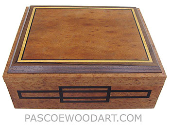 Handcrafted large wood box - Decorative wood large keepsake box, document box made of camphor burl with camphor burl framed in ebony, Ceylon satinwood and Indian rosewood top - ebony inlaid box front