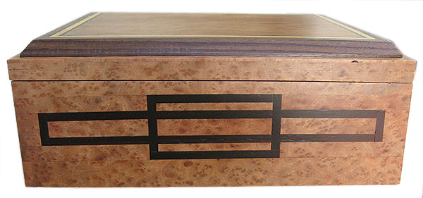 Ebony inlaid box front - Handcrafted large wood keepsake box made of camphor burl