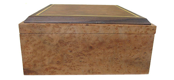 Camphor burl box side - Handcrafted large wood keepsake box