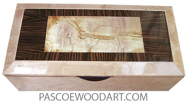 Handmade wood box - Long wood keepsake box with sliding tray made of birds eye maple with spalted maple center framed in Brazilian kingwood and birds eye maple top