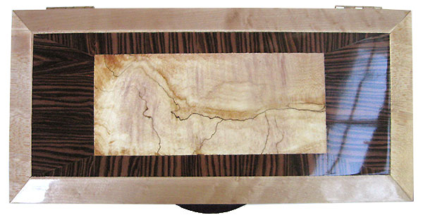 Spalted maple center framed in Brazilian kingwood and birds eye maple box top - Handmade keepsake box with sliding tray