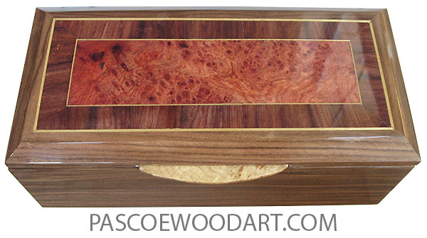 Handcrafted wood box - Decorative wood keepsake box made of Santos rosewood with amboyna burl center framed in Honduras rosewood with Ceylon satinwood stringing with maple burl handle