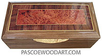 Handcrafted wood box - Decorative wood long keepsake box made of Santos rosewood with amboyna burl center framed in Honduras rosewood with Ceylon satinwood stringing top and maple burl handle
