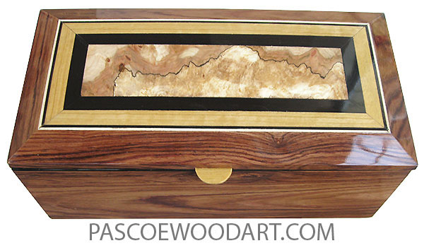 Handcrafted wood box - Medium lare keepsake box with sliding tray mad of Honduras rosewood with beveled top of spalted maple burl center framed in ebony and Ceylon satinwood