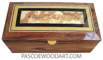 Handcrafted wood box - Keepsale box with sliding tray made of Honduras rosewood with beveled mosaic top of spalted maple burl center framed in ebony and Ceylon satinwood