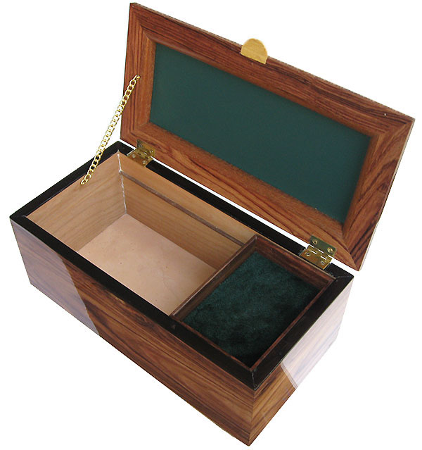 Handcrafted wood box with sliding tray - open view