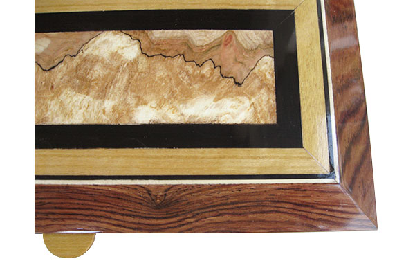 Handcrafted box mosaic top of spalted maple burl center framed in ebony and Ceylon satinwood