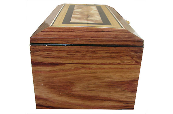 Honduras rosewood box side - Handcrafted wood box with sliding tray