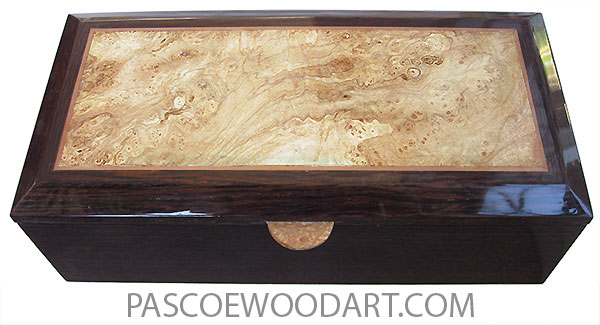 Handcrafted wood box - Keepsake box made of venge with bveveled top with spalted maple burl center