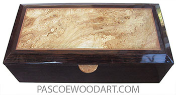 Handcrafted wood box - Keepsake box made of venge with beveled top with spalted maple burl center