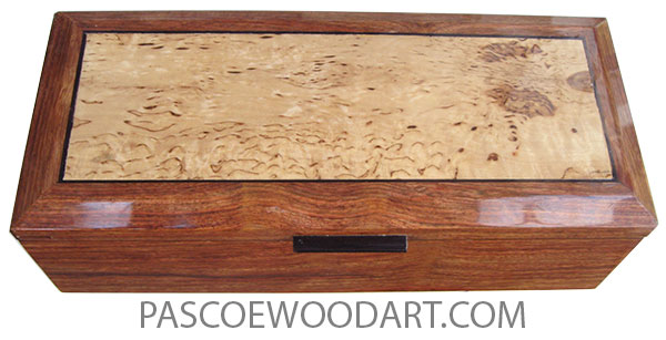 Handcrafted wood box - Long keepsake box made of  Caribbean rosewood (chechen) wih beveled top with masur birch center.