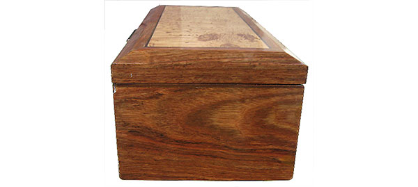 Caribbean rosewood box side - Handcrafted wood box