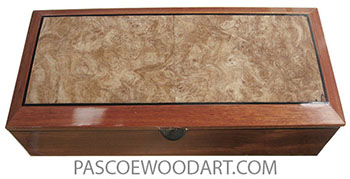 Handcradted wood box - Long keepsake box made of bloodwood with spalted maple burl beveled top