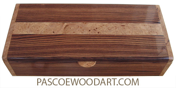 Handcrafted wood box - Keepsake box made of Honduras rosewood with maple burl ends