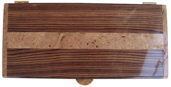 Honduras rosewood with maple burl inlay box top - Handcrafted wood keepsake box